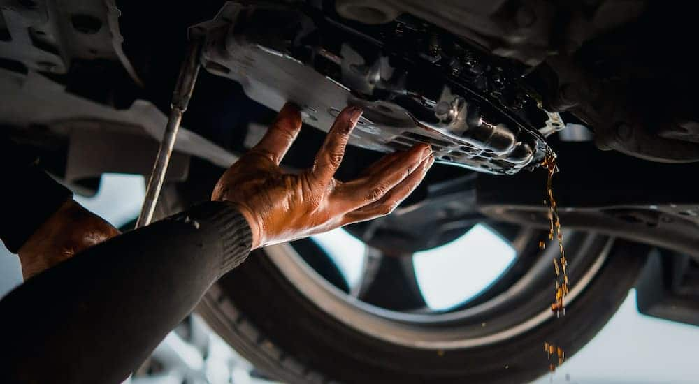 A mechanic is draining the transmission fluid from a vehicle.